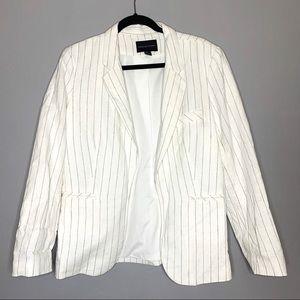 Adrienne Vittadini sz L white linen blazer